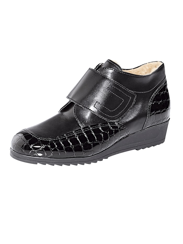 Naturläufer Velcro Ankle boots with a fuss-free wide Velcro fastening, Black