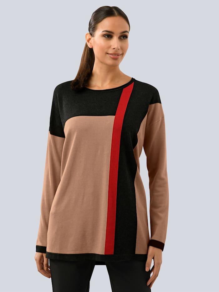 Alba Moda Pullover im modischen Colourblocking, Camel/Anthrazit/Rot