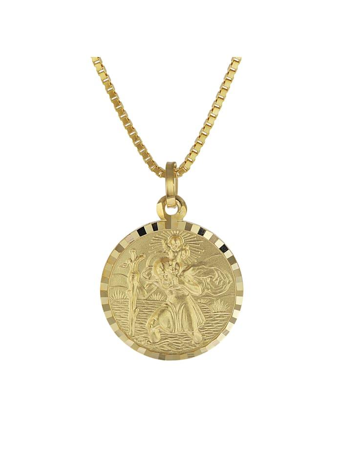 trendor Christophorus Anhänger Gold 333 mit plattierter Herren-Halskette, Goldfarben