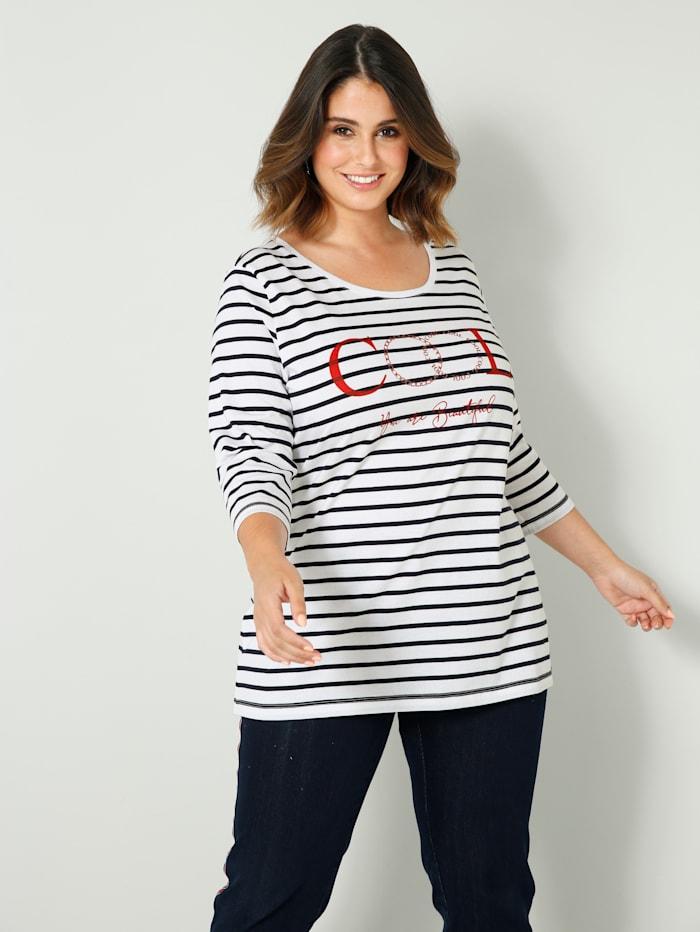 Sara Lindholm Shirt in Streifen-Optik, Marineblau/Weiß/Rot