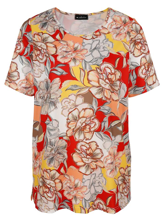 m. collection Shirt mit Blumendruckmuster, Beige