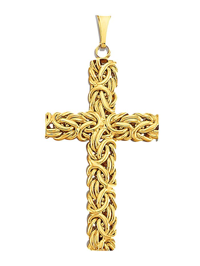 Diemer Gold Kreuz-Anhänger in Gelbgold 585, Gelbgoldfarben