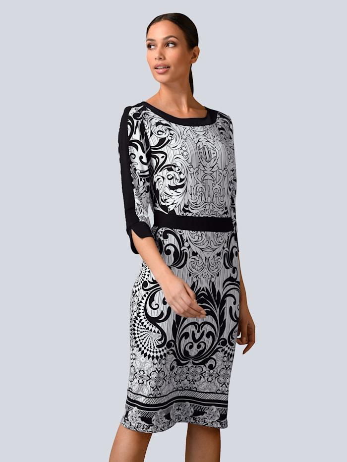 Alba Moda Etuikleid mit Kontrasten aus fester Jerseyware, Schwarz/Weiß