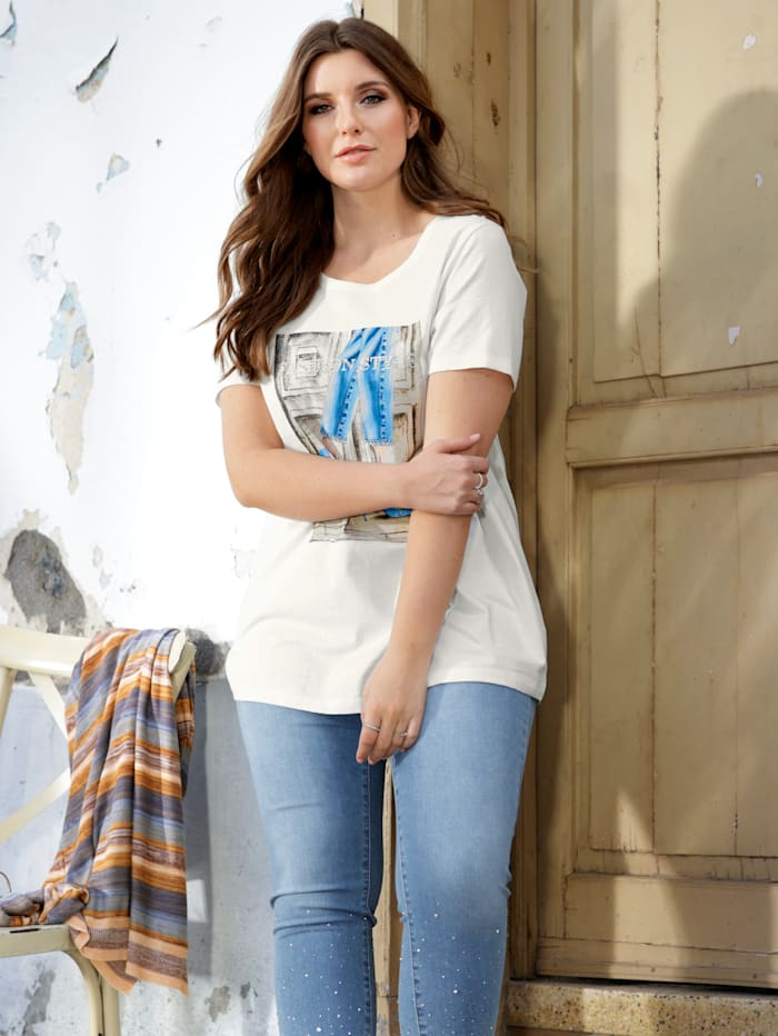 Sara Lindholm Shirt mit modischem Print, Off-white/Beige