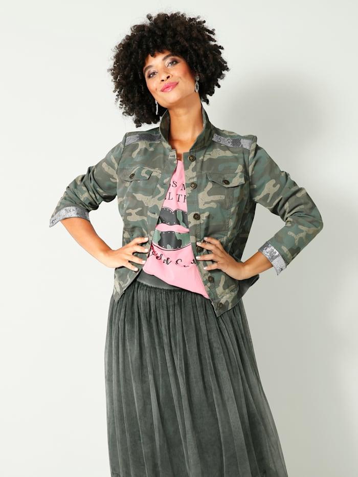 Angel of Style Jeansjacke mit Glitzereffekt an Ärmeln und Schultern, Oliv
