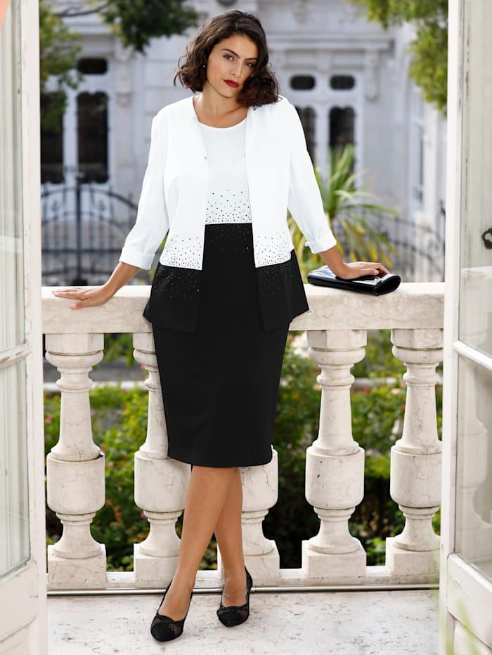 m. collection Set: blazer en jurk met fonkelende steentjes, Zwart/Wit