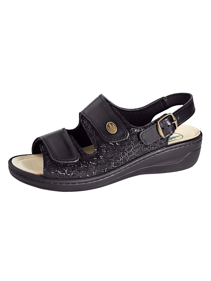 Franken Schuhe Sandale ideal geeignet bei Hallux Valgus, Schwarz