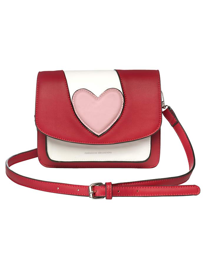 Collezione Alessandro Umhängetasche mit Herzmotiv, rot/rosa/weiß