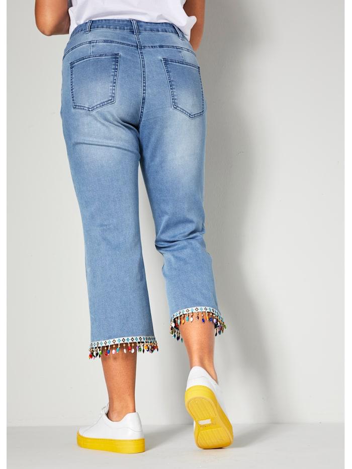 7/8-jeans met gekleurde kralen aan de zoom