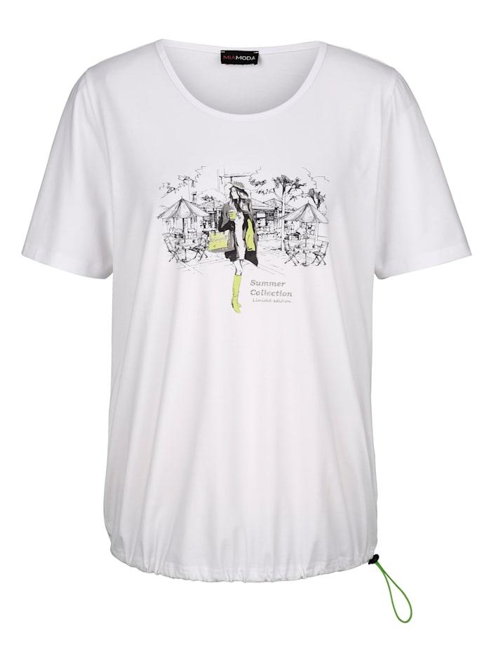 MIAMODA Tričko s praktickým tunýlkem se šňůrkou nalemu, Bílá