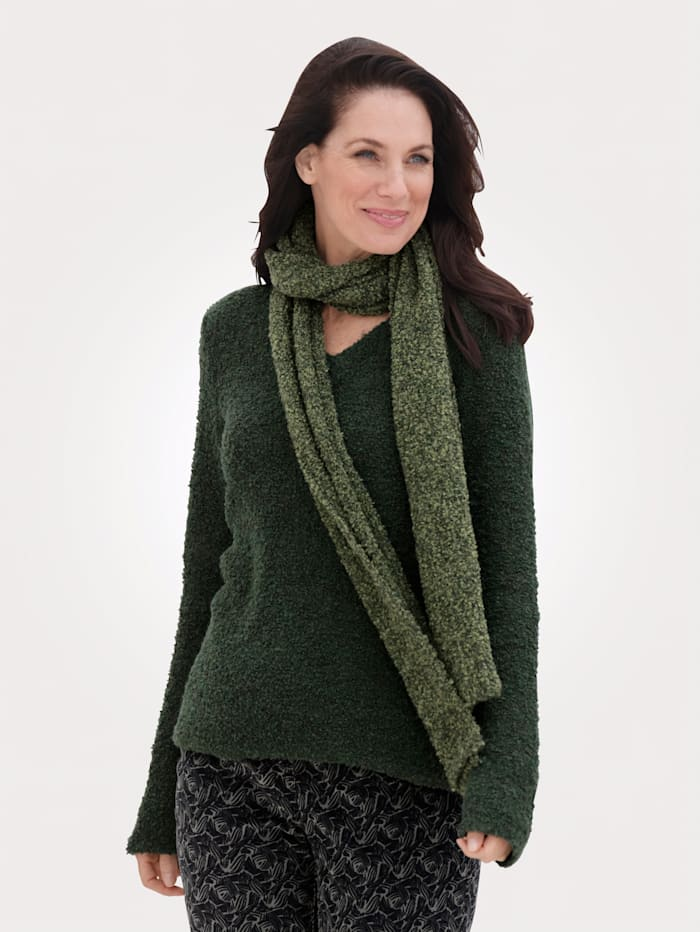 MONA Pullover mit Schal mit modischem Schal, Oliv