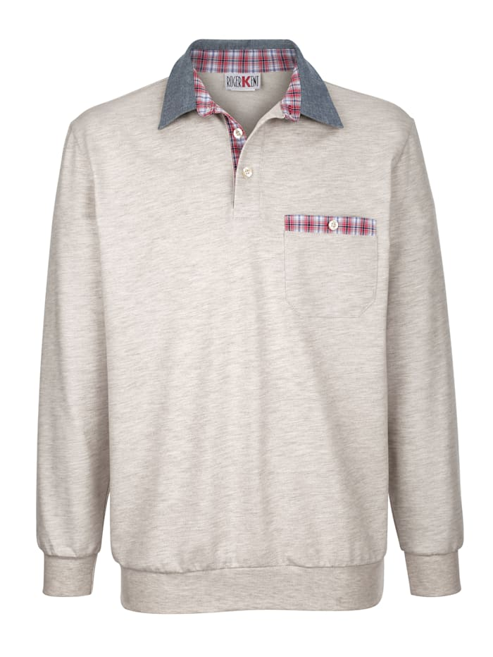Roger Kent Sweat-shirt à empiècements à carreaux contrastants, Écru