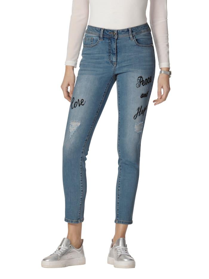 AMY VERMONT Jeans met borduursel en strassteentjes, Blue bleached