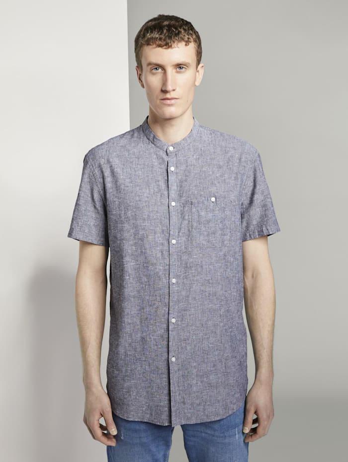 Tom Tailor Denim Kurzarmhemd mit Mao-Kragen aus Leinengemisch, Black