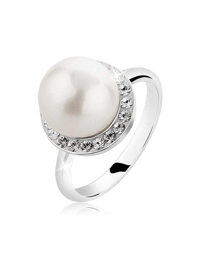 Nenalina Ring Muschelkern-Perle Kristalle 925 Silber, Silber