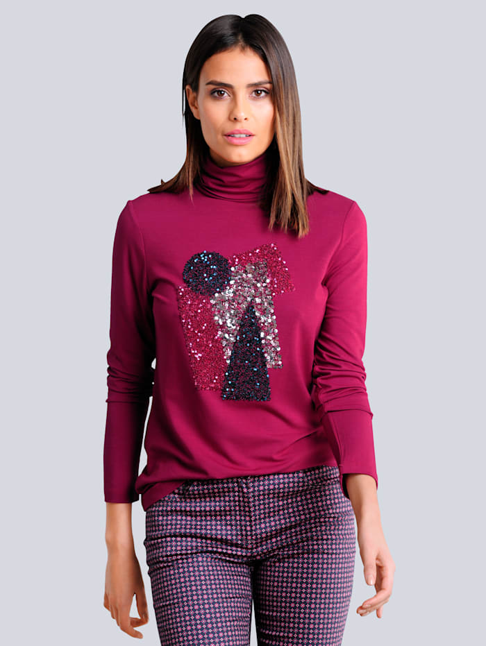 Alba Moda Shirt mit aufwendiger Paillettenverzierung im Vorderteil, Fuchsia/Beere