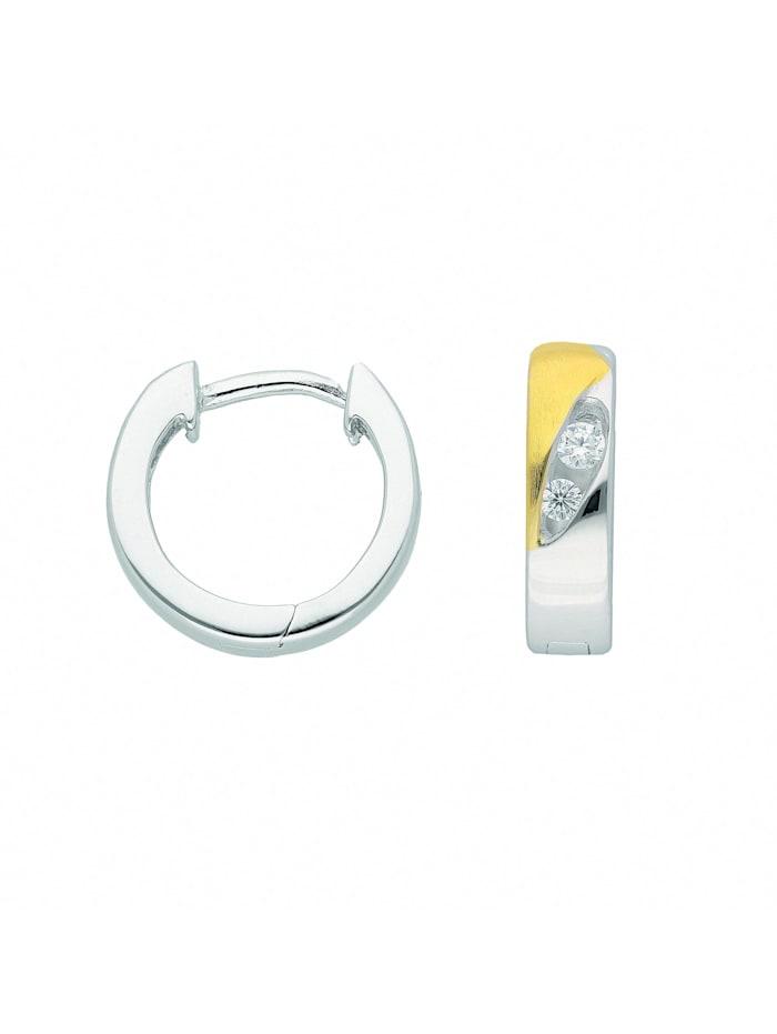 1001 Diamonds Damen Silberschmuck 925 Silber Ohrringe / Creolen mit Zirkonia Ø 13,4 mm, silber