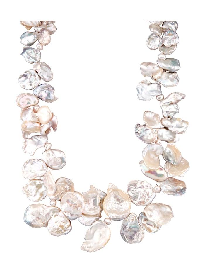 Collier avec perles de Keshi et perles d'eau douce, Blanc