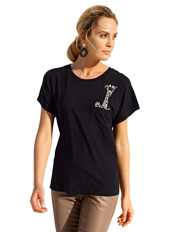 AMY VERMONT Shirt met borduursel, Zwart