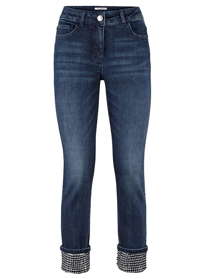 Jeans met paillettenversiering aan de zoom