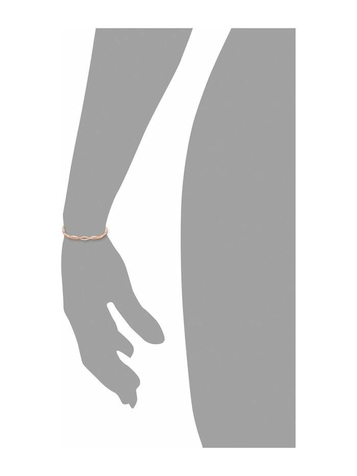 Armband für Damen 17+3 cm längenverstellbar 925 Silber rosévergoldet Zirkonia weiß