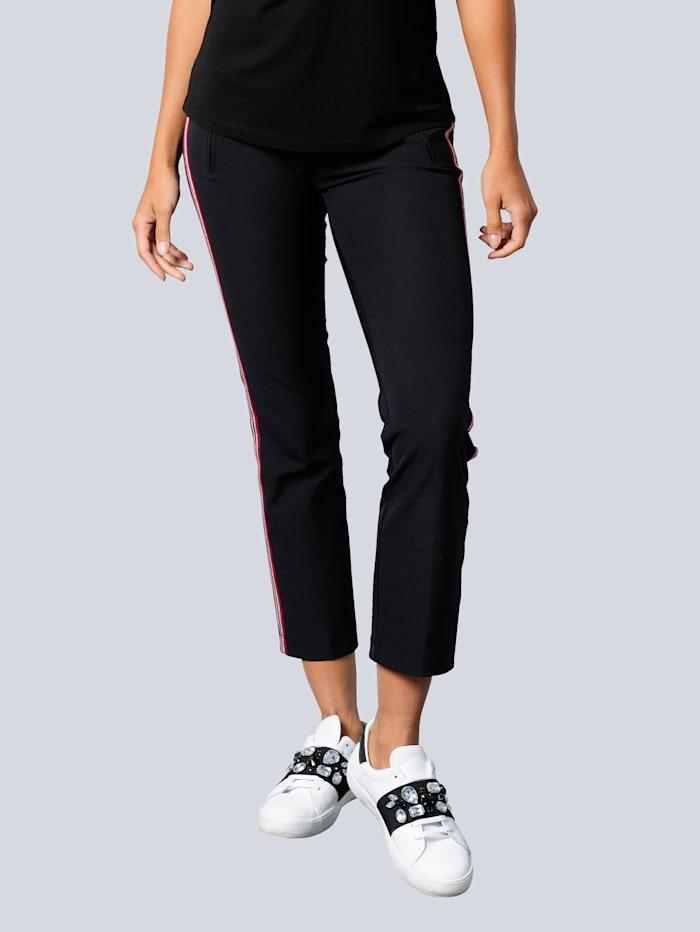 Alba Moda Pantalon à galon contrastant, Noir