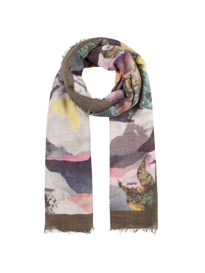 Codello XL-Schal mit Landschafts-Print aus Wolle und Modal, olive