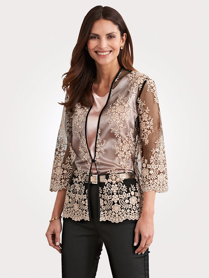 MONA Blouse jacket made from lace, Black/Rosé