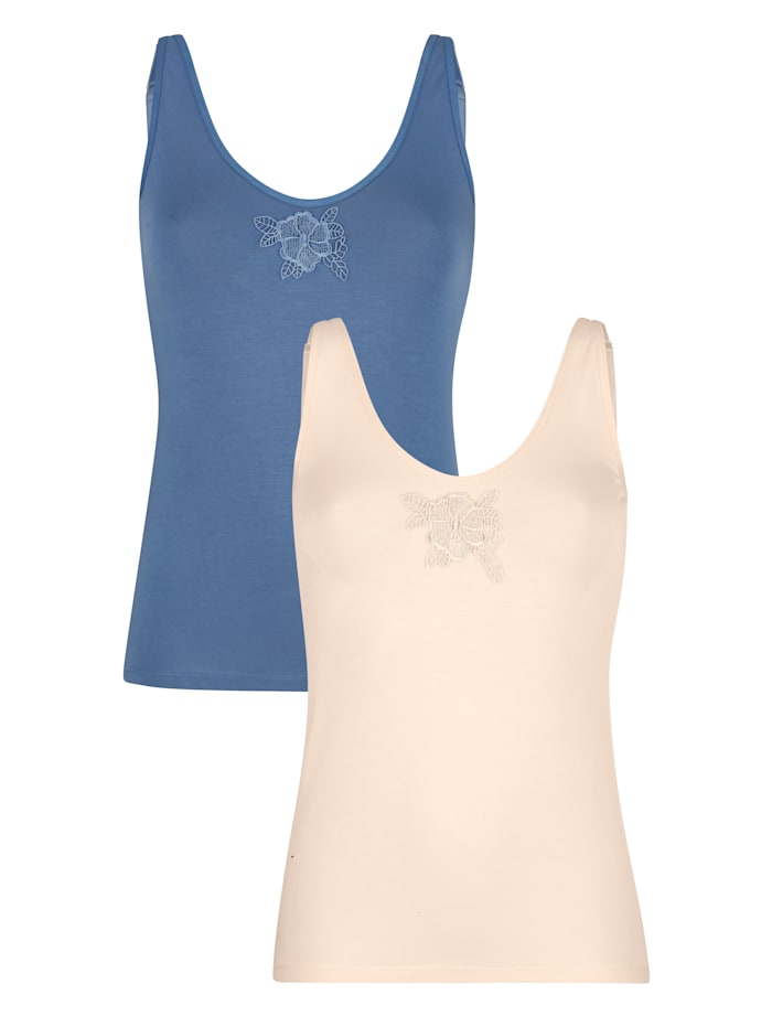 2 pack of vest tops with lace
