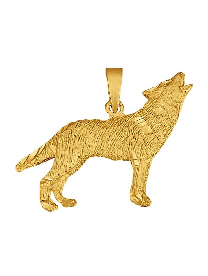 Wolf-Anhänger in Silber 925, vergoldet, Gelbgoldfarben