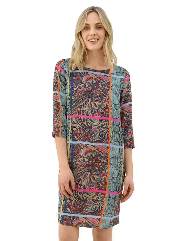 AMY VERMONT Kleid in buntem Mustermix, Türkis/Lila/Pink