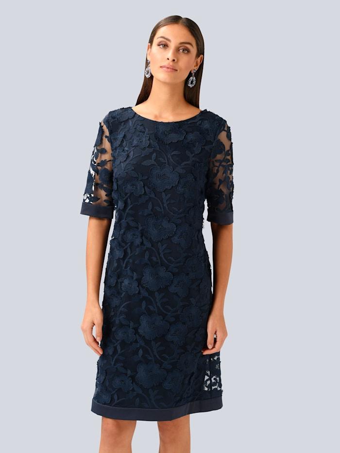 Alba Moda Kleid im wunderschönen Blätter-Dessin allover, Marineblau