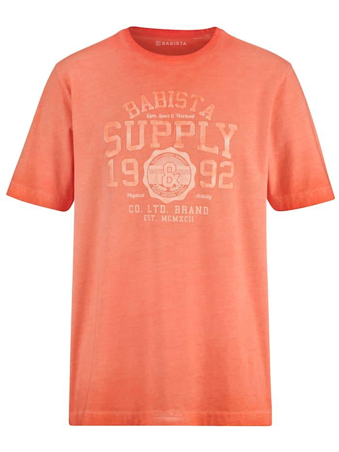 BABISTA T-shirt i trendig, tvättad look, Korall