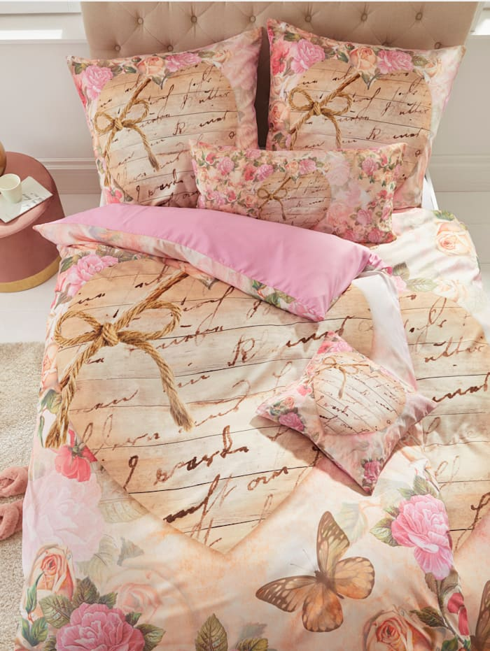 Webschatz Parure de lit en microfibre chatoyante 'Inès', Rose