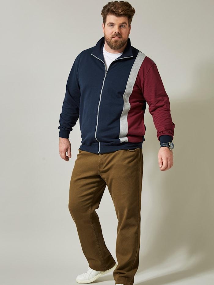 Men Plus Sweatjacke im Colour-Blocking-Design, Marineblau/Bordeaux