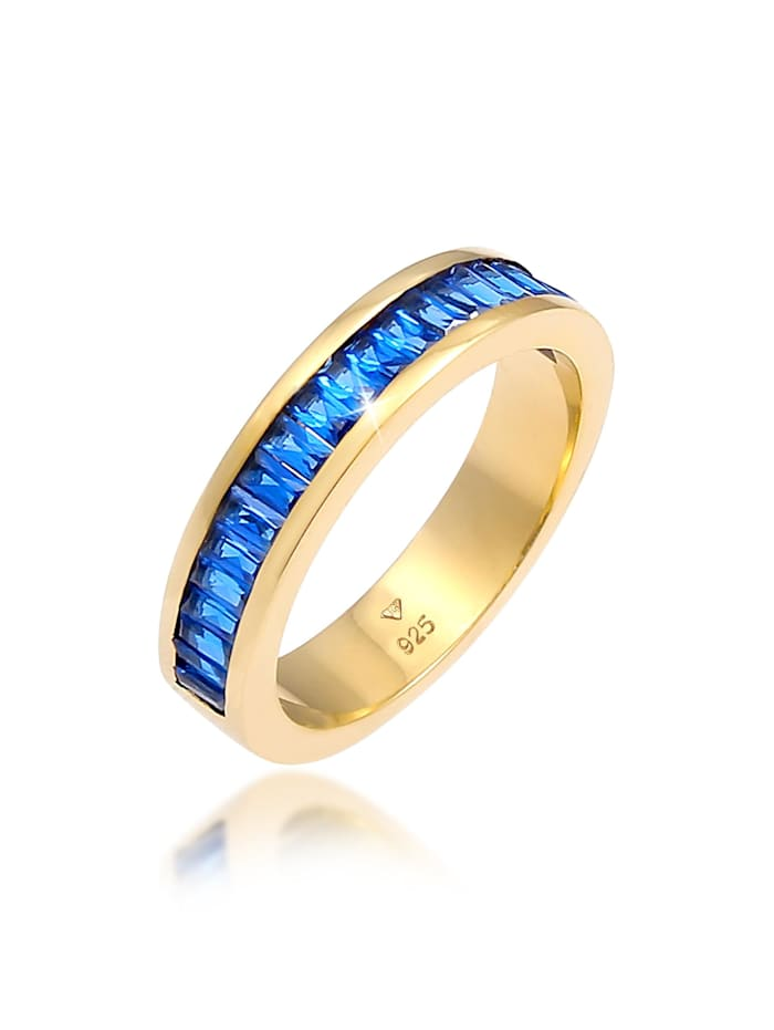 Elli Premium Ring Synthetischer Saphir Rechteck 925 Silber Vergoldet, Gold