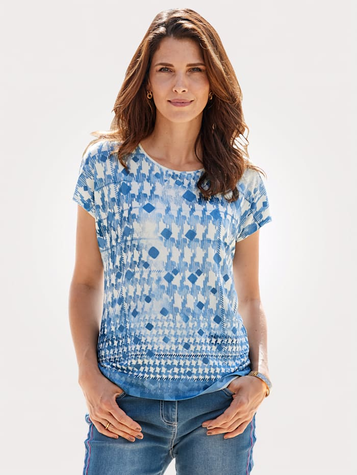 MONA T-shirt à imprimé graphique, Bleu fumée/Écru