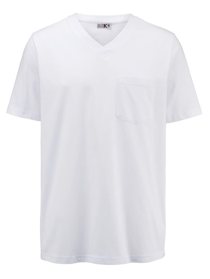 Roger Kent T-shirt med bröstficka, Vit