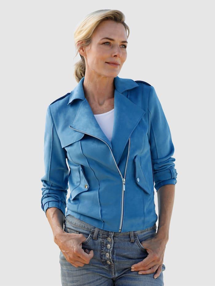 Dress In Jacke mit asymmetrischem Reißverschluss, Blau