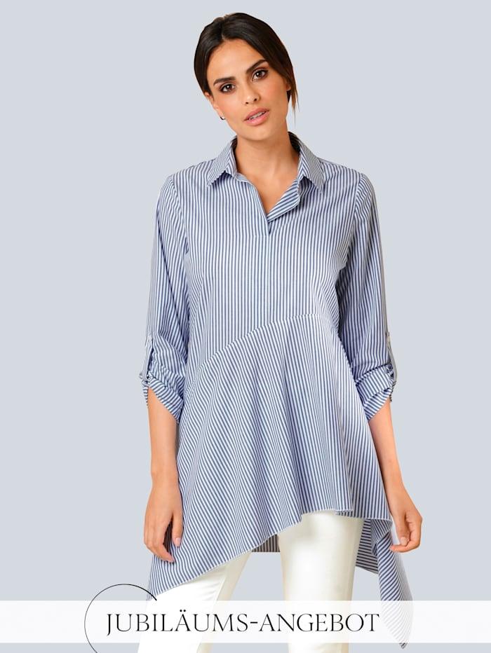 Alba Moda Bluse im Streifendessin, Blau/Weiß