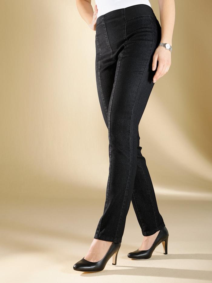 m. collection Jeans met flatterende naden, Black