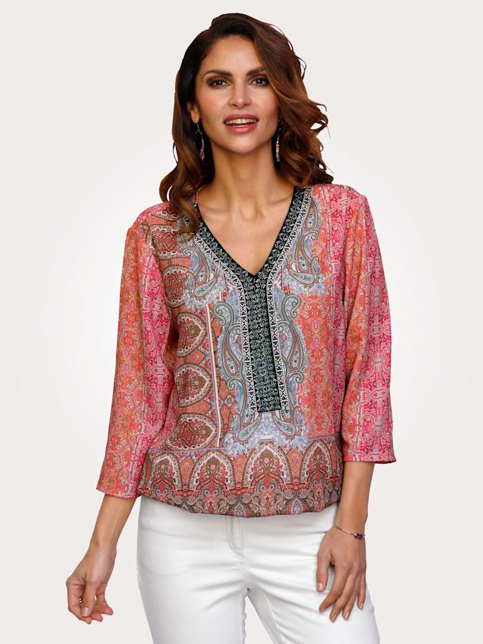MONA Blouse met zomerse print, Roze/Lichtblauw/Mint