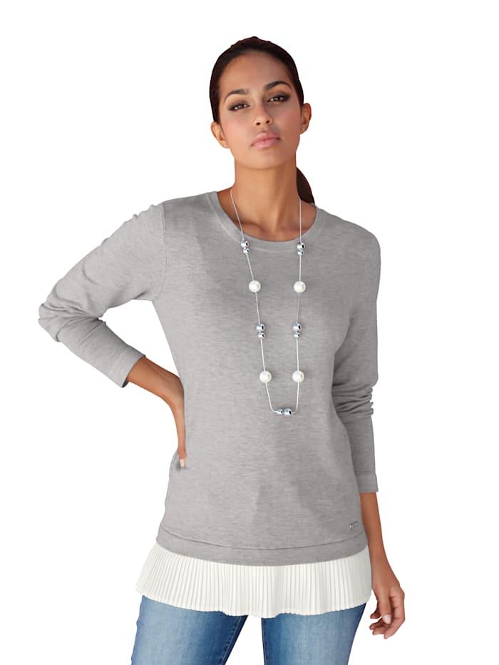 AMY VERMONT Pullover mit Plisseeeinsatz, Grau