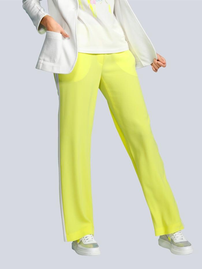 Laurèl Hose mit kontrastfarbenem Galon in der Seitennaht, Gelb