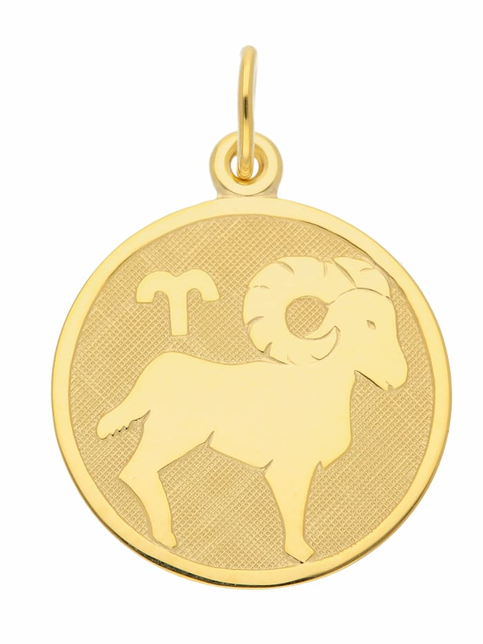 1001 Diamonds Damen & Herren Goldschmuck 333 Gold Sternzeichen Anhänger Widder Ø 16 mm, gold