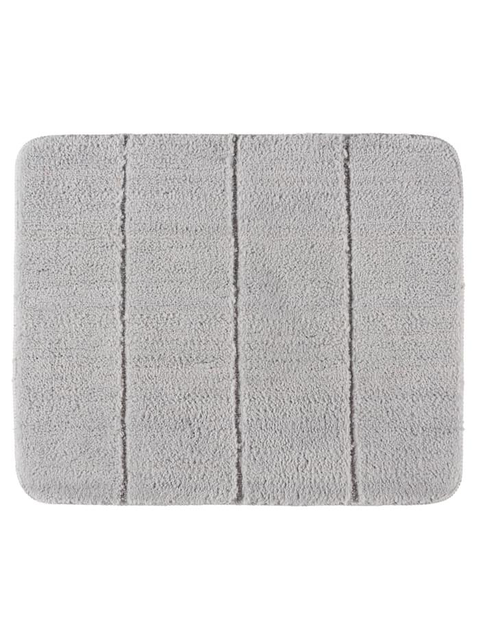 Wenko Badteppich Steps Light Grey, 55 x 65 cm, Mikrofaser, Polyester/Mikrofaser: Grau - Hellgrau