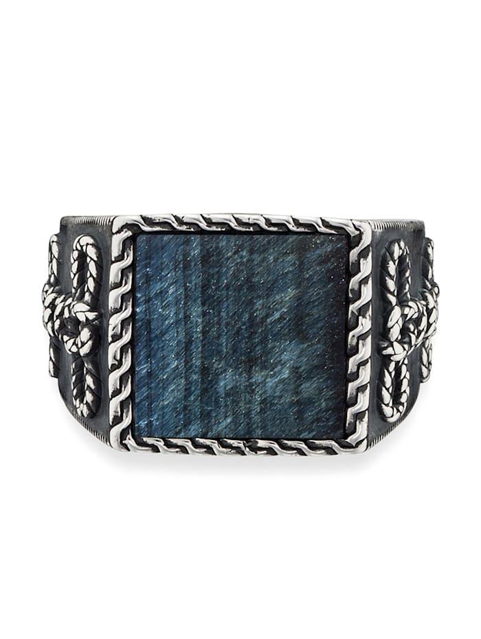 CAI Ring 925/- Sterling Silber Tigerauge blau Mattiert 3,00ct 925/- Sterling Silber, weiß