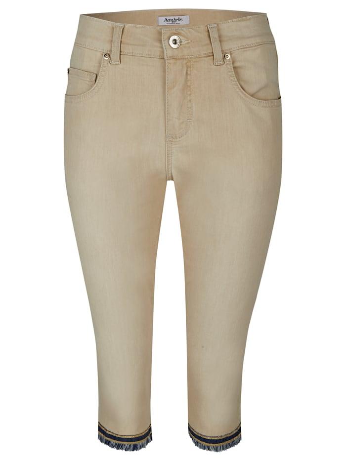 Angels Jeans 'Capri-Fringe' mit gefranstem Beinsaum, sand used