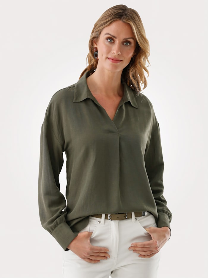 MONA Pull-on blouse in an on-trend relaxed fit, Olive