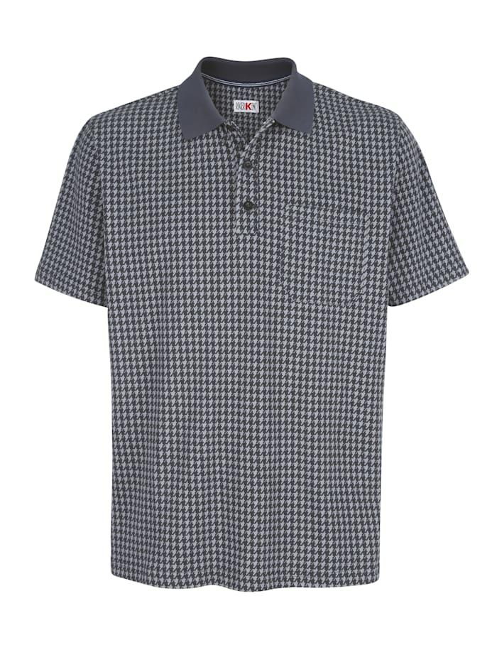 Roger Kent Poloshirt mit Hahnentritt-Druck, Grau
